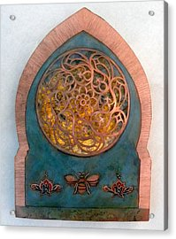 Acrylic Print featuring the mixed media Nur An - Nahl / Invocation by Shahna Lax