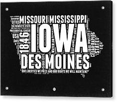 Iowa Black And White Map Acrylic Print by Naxart Studio
