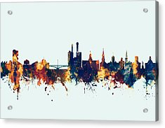 Acrylic Print featuring the digital art Iowa City Iowa Skyline by Michael Tompsett