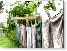 Iowa Farm Laundry Day  Acrylic Print by Wilma Birdwell