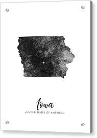 Iowa State Map Art - Grunge Silhouette Acrylic Print