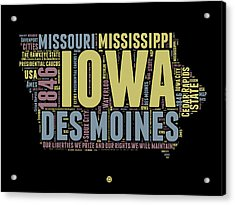 Iowa Word Cloud 1 Acrylic Print