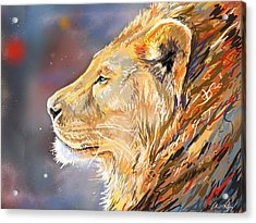 Ipad Painting - Lion Profile Acrylic Print by Aaron Spong