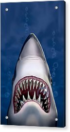 iPhone - Galaxy Case - Jaws Great White Shark Art Acrylic Print