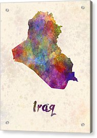 Iraq In Watercolor Acrylic Print by Pablo Romero