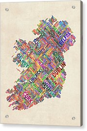 Ireland Eire City Text Map Derry Version Acrylic Print by Michael Tompsett