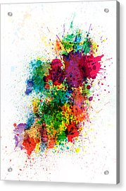 Ireland Map Paint Splashes Acrylic Print by Michael Tompsett
