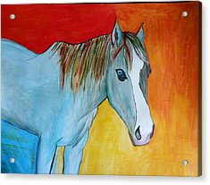 Acrylic Print featuring the painting Iridescent Blue by Carol Duarte