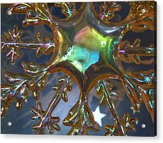 Iridescent Snowflake Acrylic Print by Rose  Hill