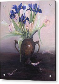 Iris And Tulips Acrylic Print by Marcy Silverstein