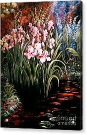 Iris By The Pond Acrylic Print