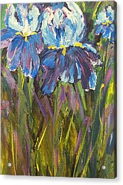 Iris Floral Garden Acrylic Print by Claire Bull