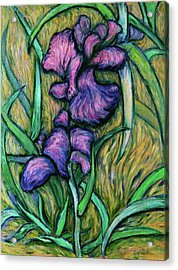 Acrylic Print featuring the painting Iris For Vincent - Contemporary Fauvist Post-impressionist Oil Painting Original Art On Canvas by Xueling Zou