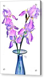 Iris Still Life In A Vase Acrylic Print by Marsha Heiken