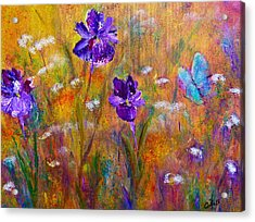 Iris Wildflowers And Butterfly Acrylic Print by Claire Bull
