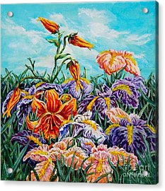 Iris With Daylily Acrylic Print