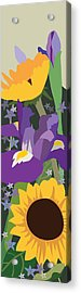Irises And Sunflowers Acrylic Print by Marian Federspiel