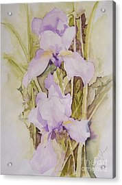 Acrylic Print featuring the painting Irises by Jackie Mueller-Jones