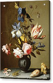 Irises, Roses, Columbine, Hyacinth And A Tulip In A Black Pottery Pitcher Acrylic Print by Balthasar van der Ast