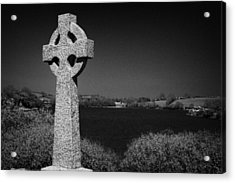 Irish Celtic Cross Overlooking Lake Acrylic Print by Joe Fox