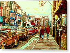 Irish Pubs And Bistros Downtown Montreal Acrylic Print by Carole Spandau