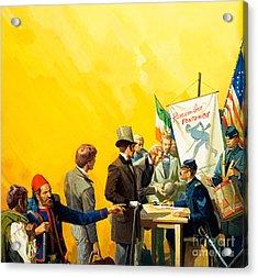 Irish Recruitment For The American Civil War Acrylic Print by Severino Baraldi