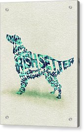 Irish Setter Watercolor Painting / Typographic Art Acrylic Print