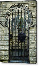Iron Gate With Colorful Beads Acrylic Print by Garry Gay