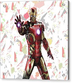 Acrylic Print featuring the mixed media Iron Man Splash Super Hero Series by Movie Poster Prints