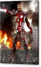Iron Man With Battle Damage Acrylic Print by Paul Tagliamonte