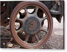 Acrylic Print featuring the photograph Iron Train Wheel by Aidan Moran