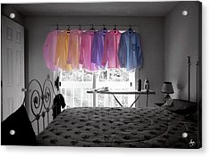 Acrylic Print featuring the photograph Ironing Adds Color To A Room by Wayne King