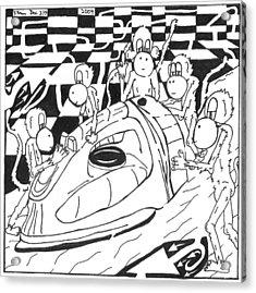 Ironing Monkeys Maze Cartoon Acrylic Print by Yonatan Frimer Maze Artist