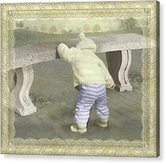Is Bunny Under The Bench? Acrylic Print