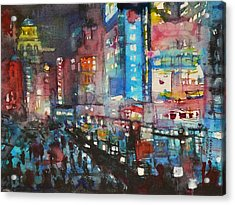 Is There Anything Going On Tonight In Downtown Acrylic Print by Dreja Novak
