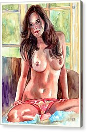 Isabella Nude Lady Portrait Acrylic Print