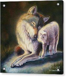 Isaiah Wolf And Lamb Acrylic Print