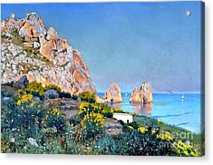 Acrylic Print featuring the painting Island Of Capri - Gulf Of Naples by Rosario Piazza