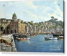 Acrylic Print featuring the painting Island Of Procida - Italy- Harbor With Boats by Rosario Piazza