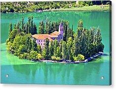 Island Of Visovac Monastery In Krka  Acrylic Print