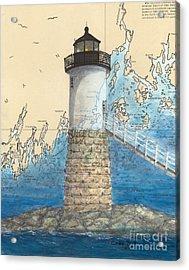 Isle Au Haut Lighthouse Me Nautical Map  Acrylic Print by Cathy Peek