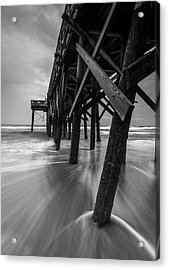 Isle Of Palms Pier Water In Motion Acrylic Print