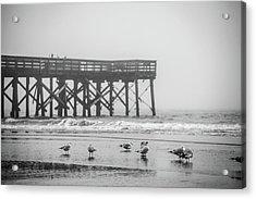 Isle Of Palms Pier And Fog Acrylic Print