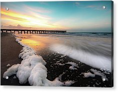 Isle Of Palms Pier Sunrise And Sea Foam Acrylic Print