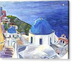 Isle Of Santorini Thiara  In Greece Acrylic Print