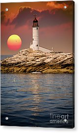 Isles Of Shoals Lighthouse At Sunset Acrylic Print