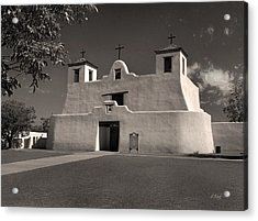 Isleta Mission Monochrome Acrylic Print by Gordon Beck