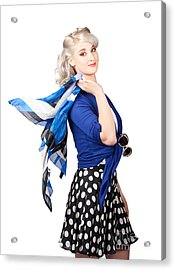 Isolated Caucasian Woman With Pinup Fashion Style Acrylic Print by Jorgo Photography - Wall Art Gallery