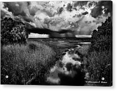 Isolated Shower - Bw Acrylic Print by Christopher Holmes