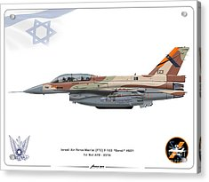 Israeli Air Force F-16d Barak - Ftc Acrylic Print